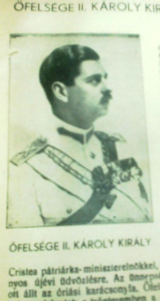 Regele Carol al II-lea, ilustratie din Erdelyi Fiatalok