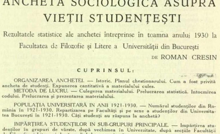 Ancheta sociologica asupra vietii studentesti (1936)