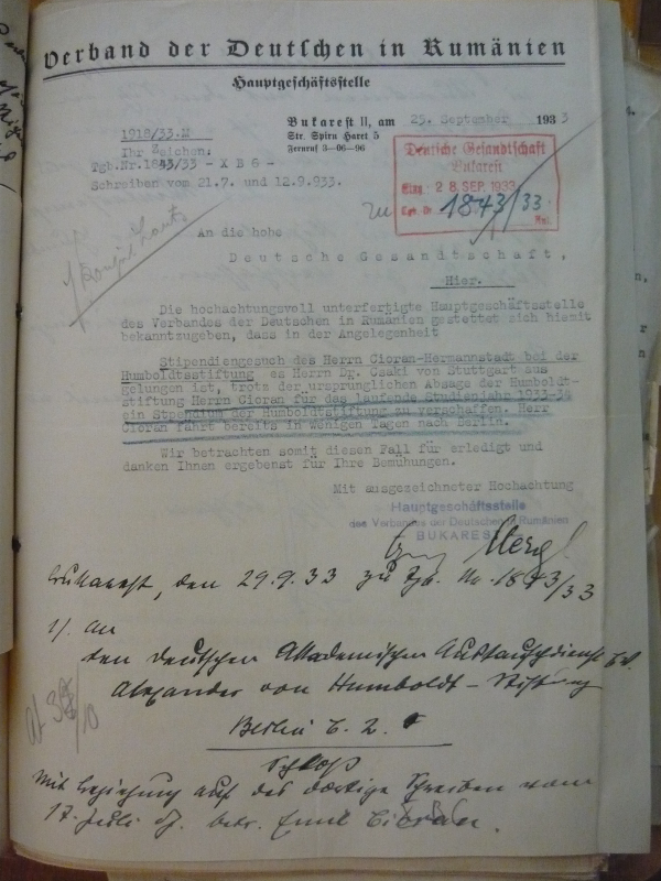 Politisches Archiv Berlin: document de arhiva legat de acordarea bursei lui Emil Cioran.